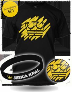 Černý Set Jirka Král žlutá koruna - tričko