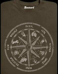 Alkoholický kompas khaki pánské tričko