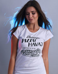 B 12 Zbožňuju pizzu Havaj bílé dámské tričko