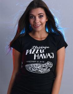 B 12 Zbožňuju pizzu Havaj černé dámské tričko