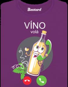Bílé víno volá fialové dámské tričko