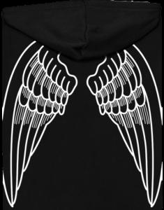 Křídla dámská mikina na zip – záda