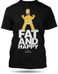 The Simpsons Homer Fat and Happy černé tričko pánské velikost L
