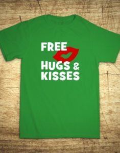 Tričko s motívom Free hugs and kisses